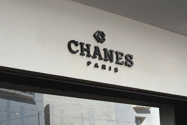 3d black logo mockup facade sign