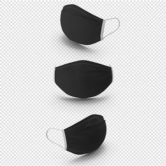 3d черная медицинская маска изолированные