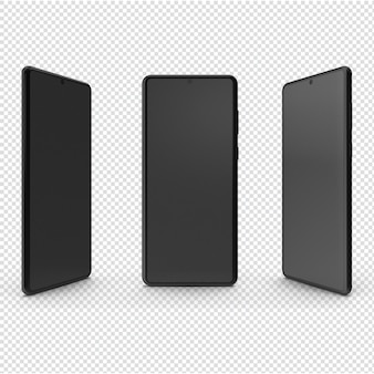 3つのビューが分離された3dブラックモバイル