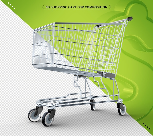 3d black shopping cart isolated