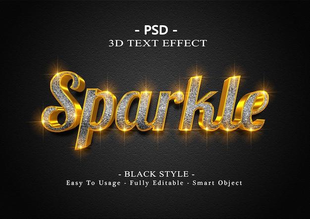 3d черный сверкающий текстовый эффект