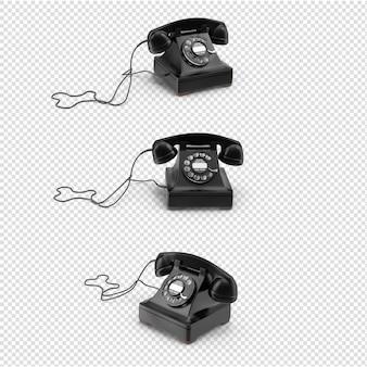 分離された3dブラックヴィンテージ電話