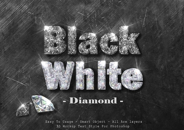 3d black and white diamond text style effect