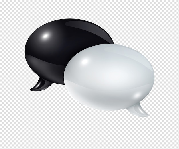 3d black and white speech bubbles isolated