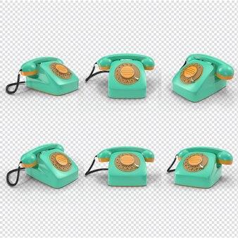 分離された3d青と黄色のヴィンテージ電話