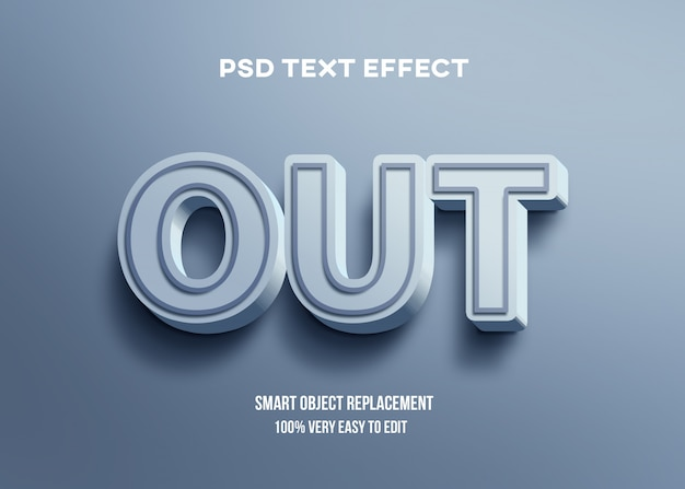 3d blue bright text effect