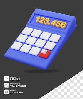 투명한 배경이 있는 3d 파란색 계산기 아이콘