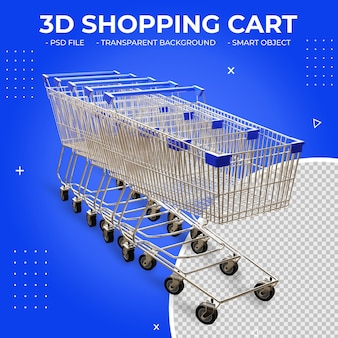 3d blue color metal shopping cart isolated