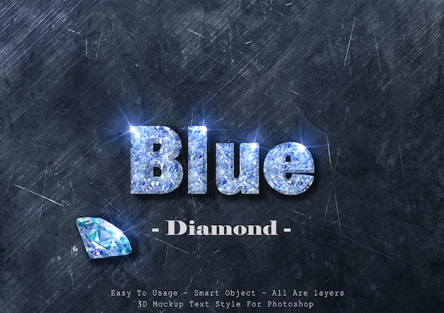 3d blue diamond text style effect