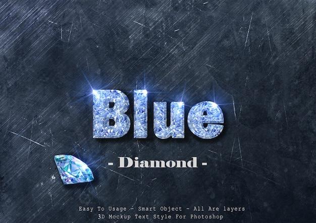 Эффект стиля текста синий бриллиант 3d