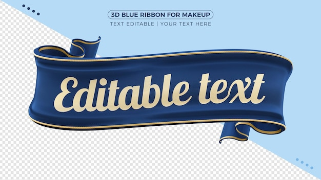 3d blue fabric ribbon with text mockup