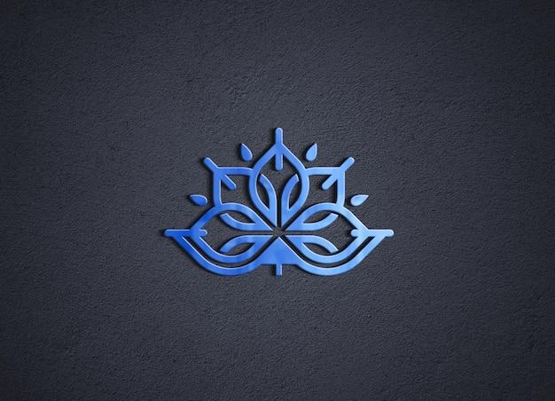 검은 벽에 3d 블루 광택 로고 모형