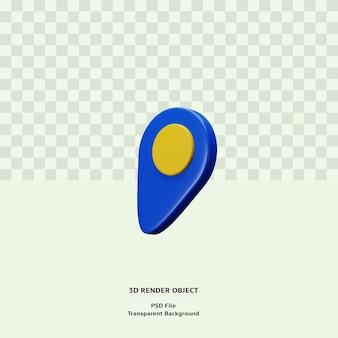 3d 파란색 위치 아이콘 그림 개체 렌더링 프리미엄 psd