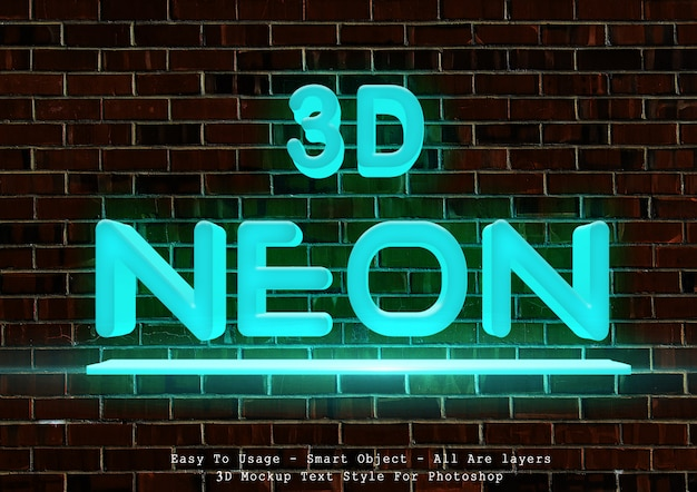 3d blue neon text style