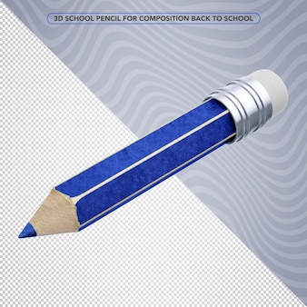 3d blue pencil for back to school