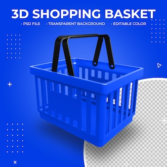 3d blue plastic shopping basket isolated