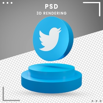 3d blue rotated logo icon twitter isolated