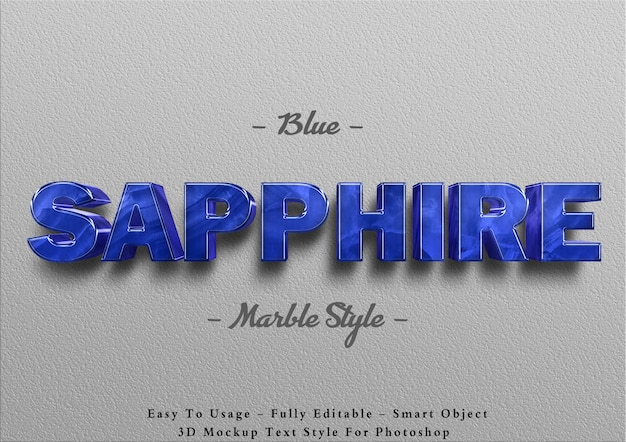 3d 블루 사파이어 대리석 텍스트 효과 템플릿