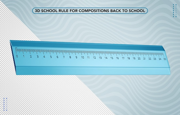 3d синий школьный правитель снова в школу