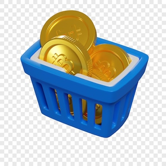 3d blue shopping basket with bitcoin coins token purchase concept cryptocurrency