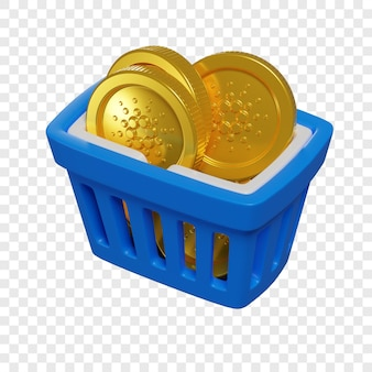 3d blue shopping basket with cardano coins token purchase concept cryptocurrency