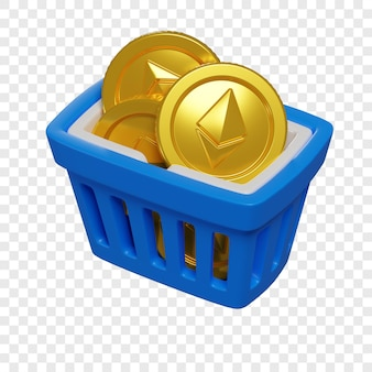 3d blue shopping basket with ethereum coins token purchase concept cryptocurrency