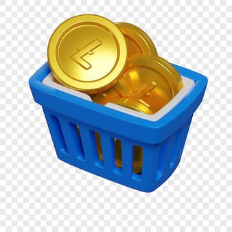 3d blue shopping basket with litecoin coins token purchase concept cryptocurrency