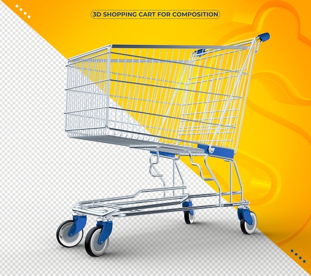3d blue shopping cart isolated