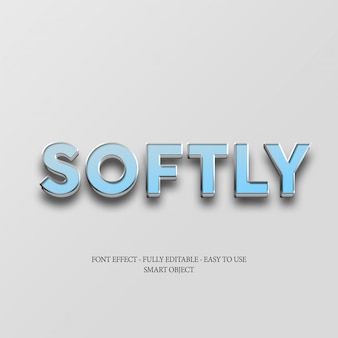 3d blue softly text effect