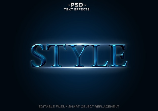 3d blue style effects editable text