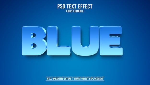 3d blue text effect