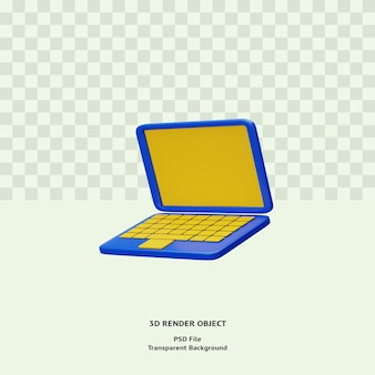 3d bluelaptop icon illustration object rendered premium psd