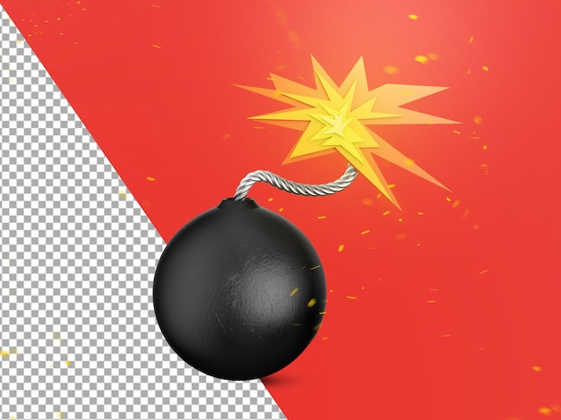 3d bomb getting ready to explode isolated