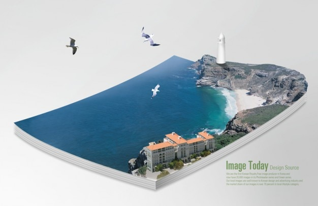 3d book coast, sea and lighthouse