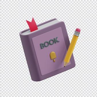 3d книга с карандашом в 3d-рендеринге изолированы
