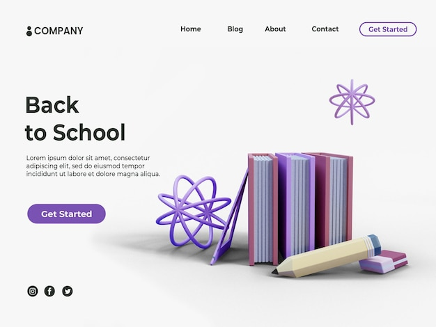 教育の背景やランディングページ用の鉛筆で3d本