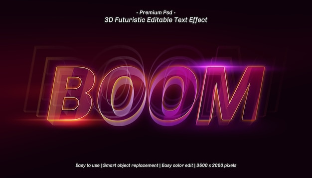 3d boom text effect template