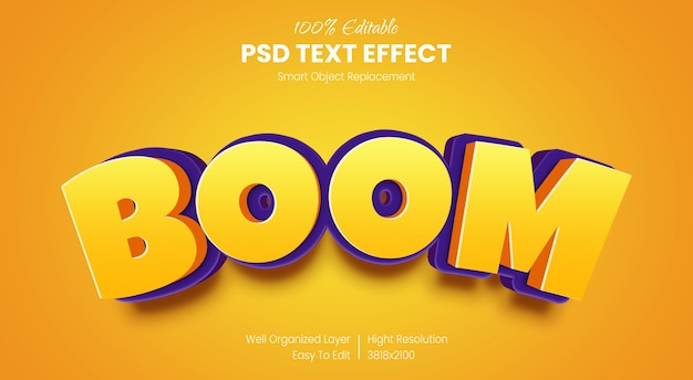 3d boom text style effect template