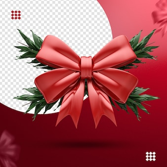 3d bow with branches isolated for christmas composition