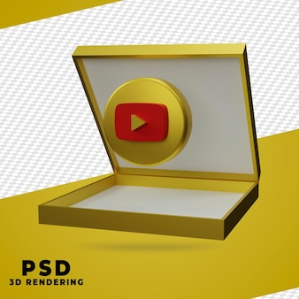 3d коробка золото рендеринг youtube изолированные