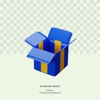 3d коробка открыта иллюстрация значок объект визуализирован премиум psd