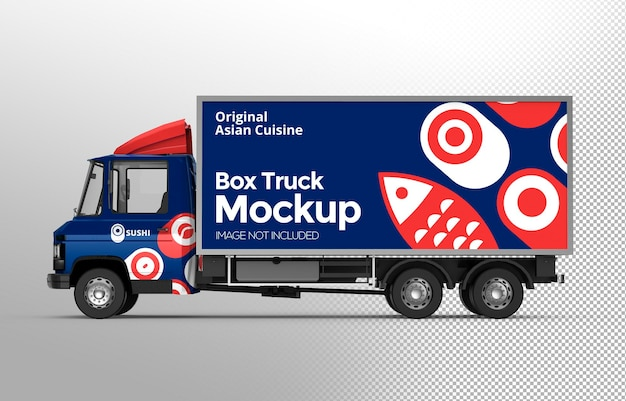 3d box truck mockup side view isolated