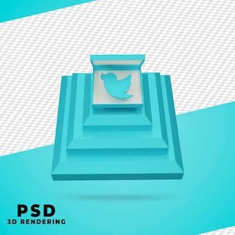 3d box twitter рендеринг изолированные