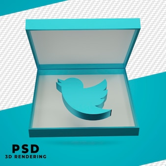3d box twitter rendering isolated