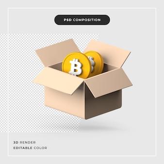 ビットコイン付きの3dボックス