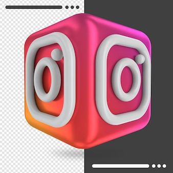 3d box with logo of instagram in 3d rendering