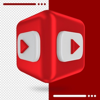 3d box with logo of youtube in 3d rendering