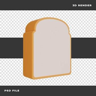 3d bread rendered on transparent background
