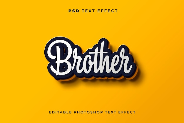 3d brother text effect template with yellow background