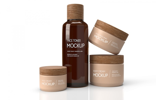 3d brown cosmetic jars mockup